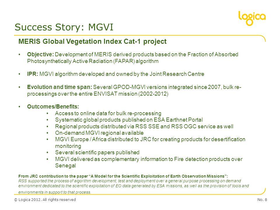 Success Story: MGVI MERIS Global Vegetation Index Cat-1 project