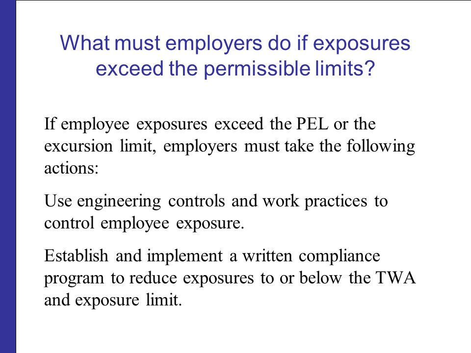 What must employers do if exposures exceed the permissible limits