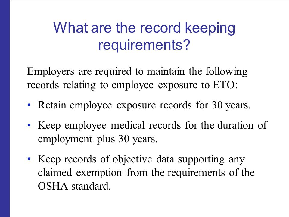 What are the record keeping requirements