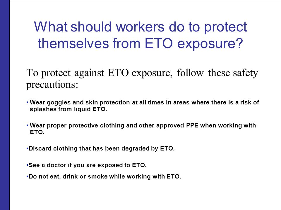 What should workers do to protect themselves from ETO exposure