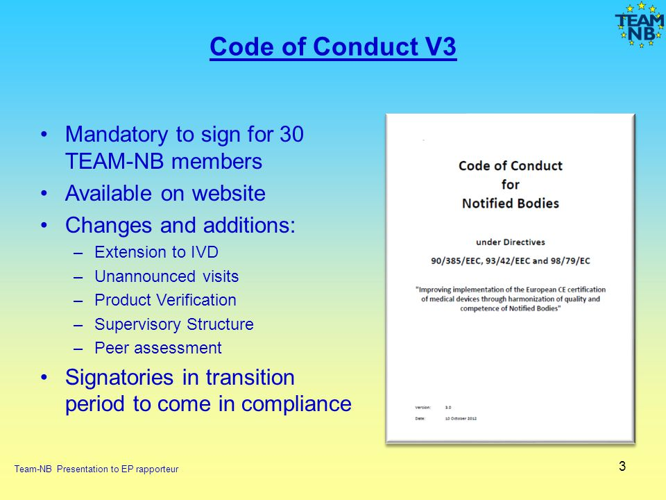 Code of Conduct V3 Mandatory to sign for 30 TEAM-NB members