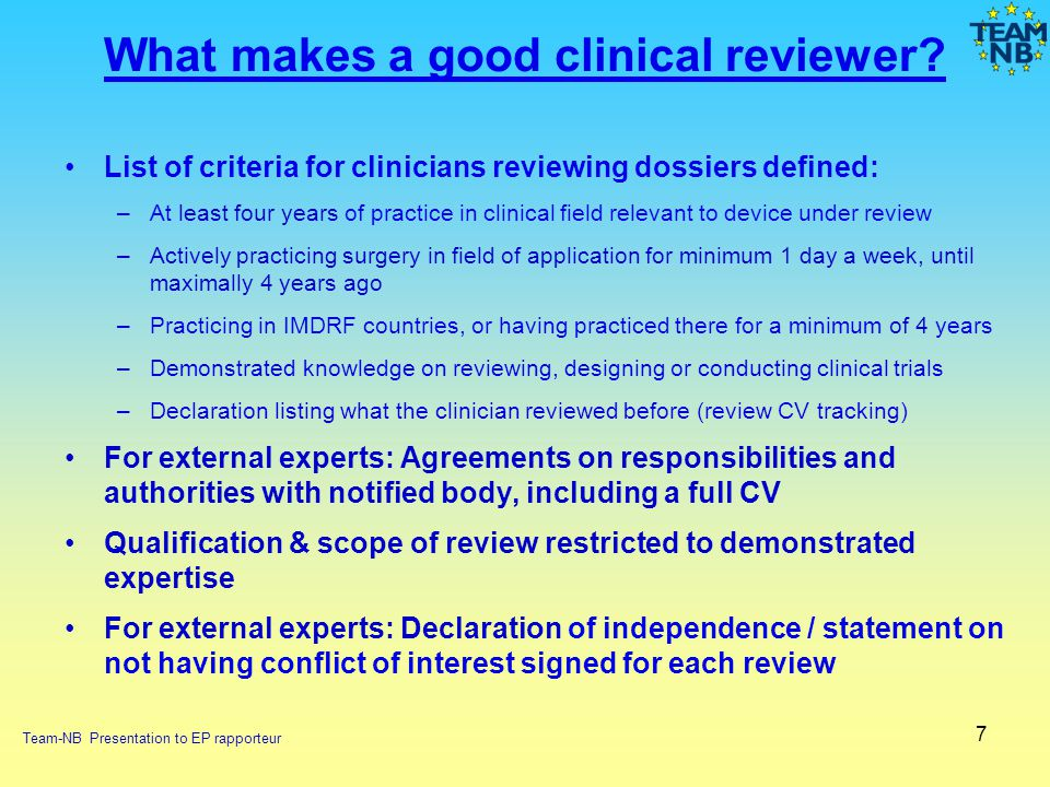 What makes a good clinical reviewer