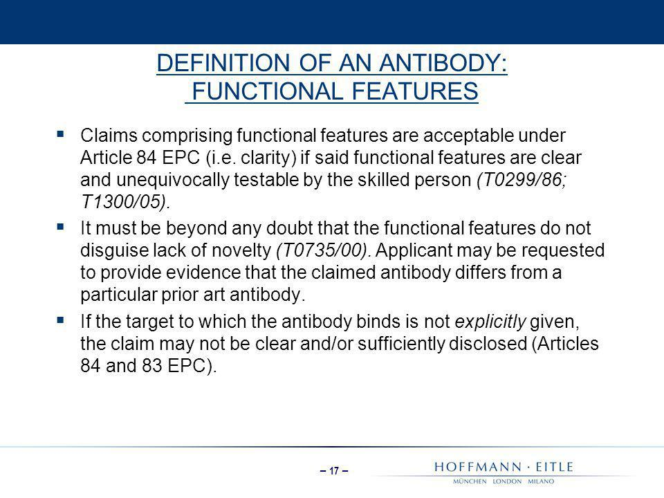 DEFINITION OF AN ANTIBODY: FUNCTIONAL FEATURES