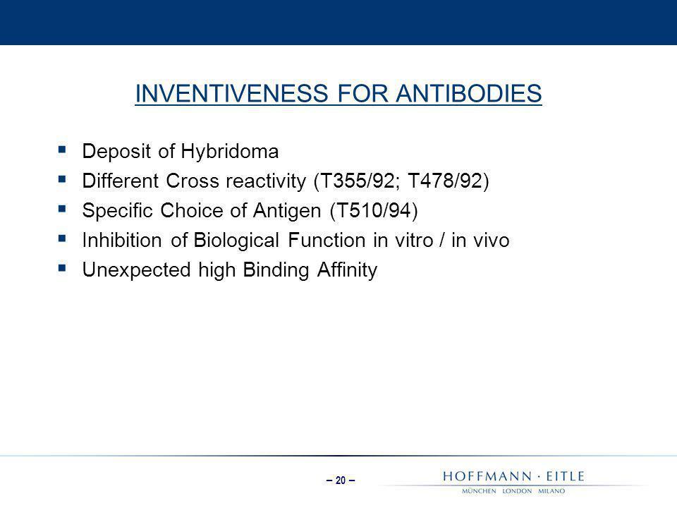 INVENTIVENESS FOR ANTIBODIES