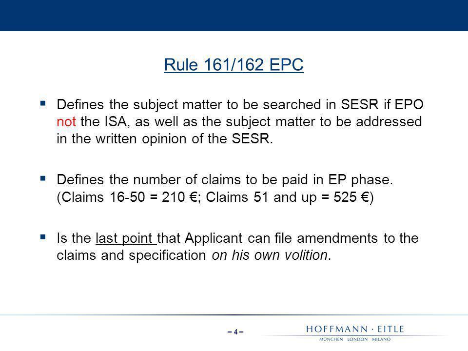 Rule 161/162 EPC