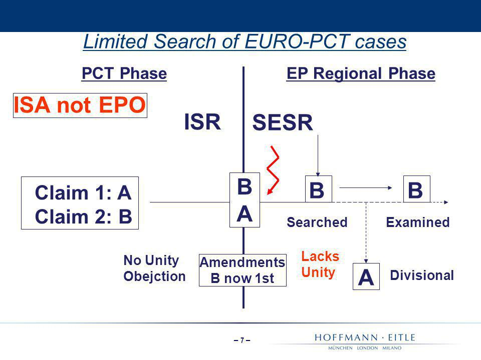 Limited Search of EURO-PCT cases