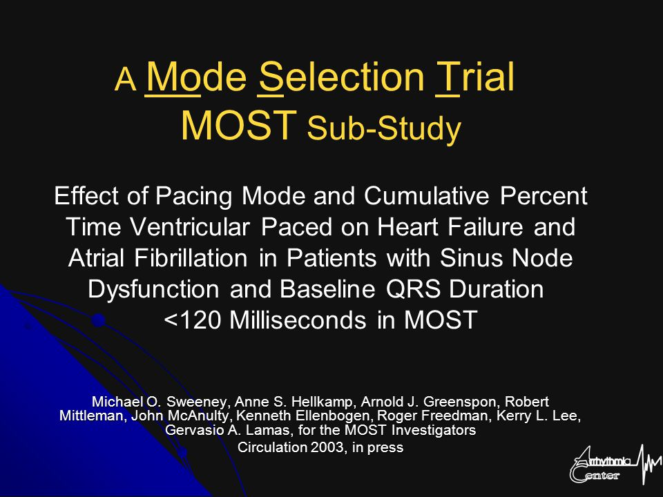 A Mode Selection Trial MOST Sub-Study Effect of Pacing Mode and Cumulative Percent Time Ventricular Paced on Heart Failure and Atrial Fibrillation in Patients with Sinus Node Dysfunction and Baseline QRS Duration <120 Milliseconds in MOST