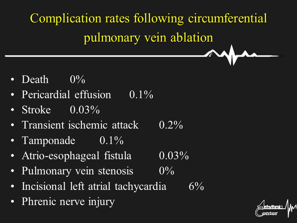 Complication rates following circumferential pulmonary vein ablation