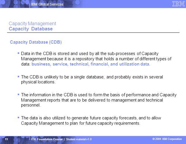 Capacity Management Capacity Database