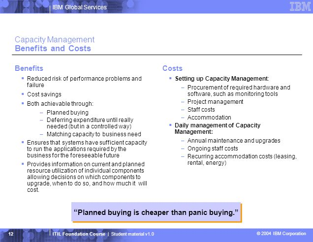 Capacity Management Benefits and Costs