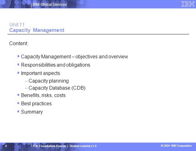 Unit 11 Capacity Management