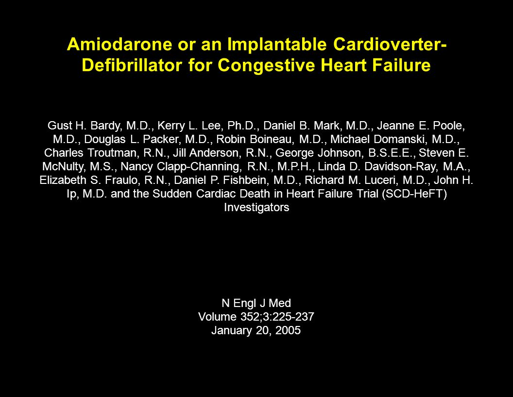 Amiodarone or an Implantable Cardioverter-Defibrillator for Congestive Heart Failure