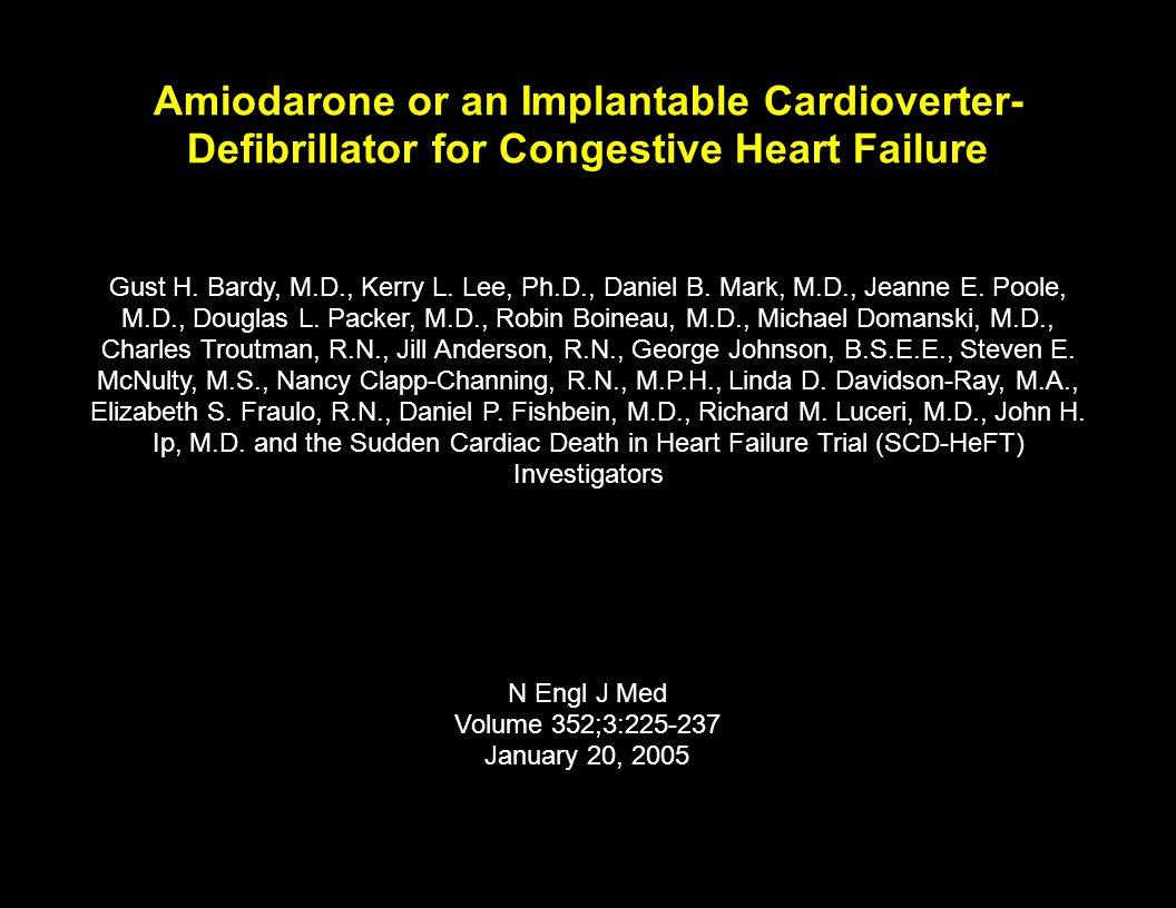 Amiodarone or an Implantable Cardioverter-Defibrillator for Congestive Heart Failure
