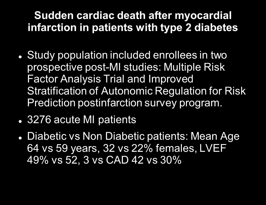 Sudden cardiac death after myocardial infarction in patients with type 2 diabetes