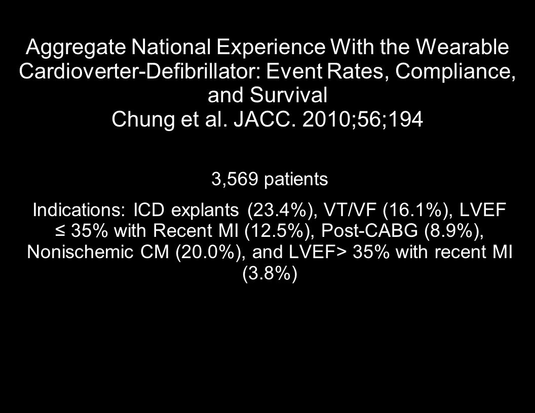 Aggregate National Experience With the Wearable Cardioverter-Defibrillator: Event Rates, Compliance, and Survival Chung et al. JACC. 2010;56;194