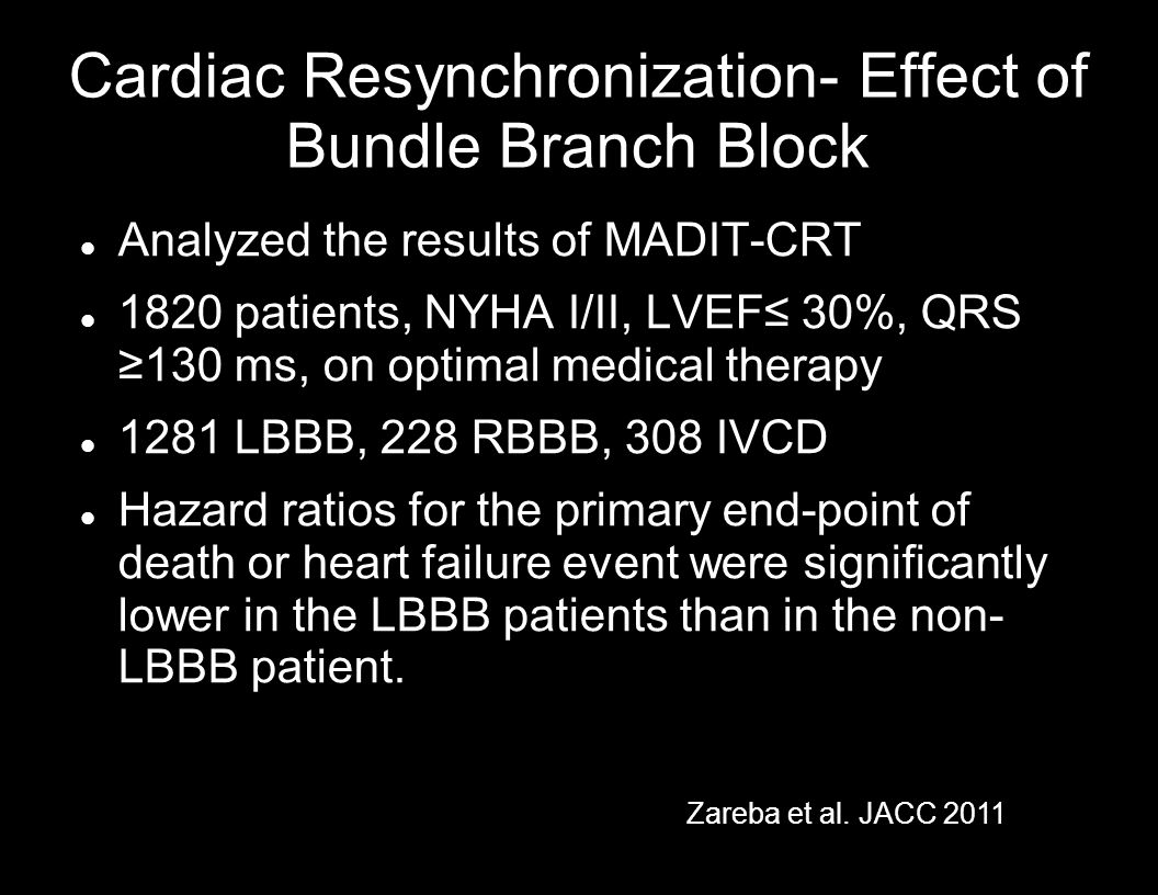 Cardiac Resynchronization- Effect of Bundle Branch Block