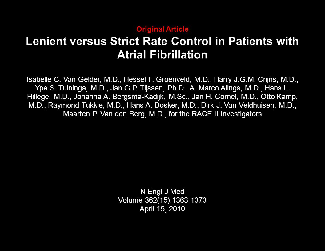 Original Article Lenient versus Strict Rate Control in Patients with Atrial Fibrillation