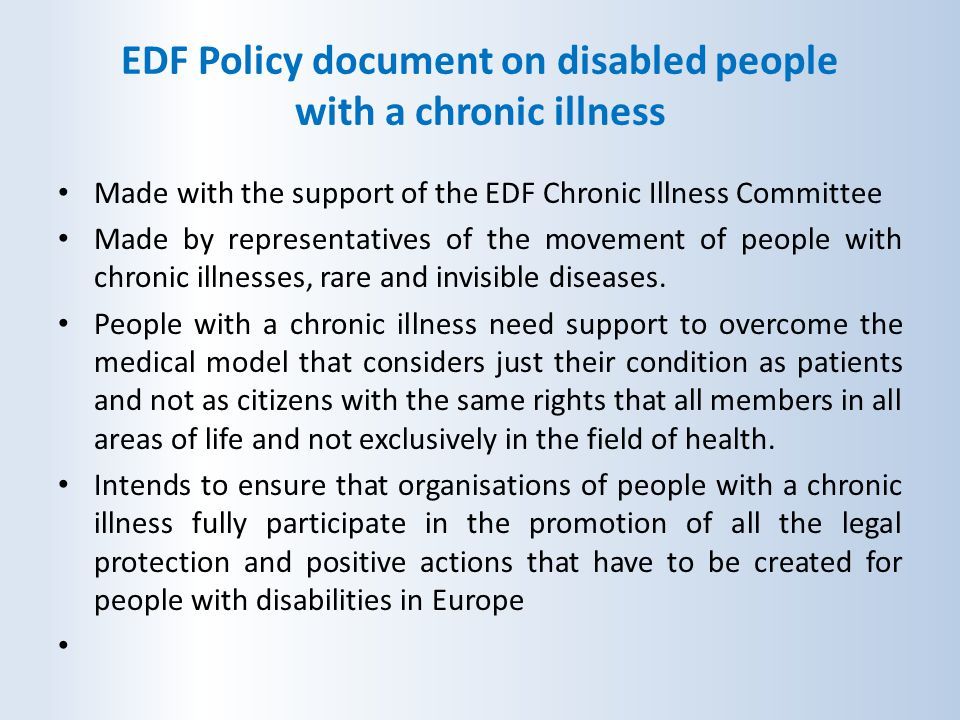 EDF Policy document on disabled people with a chronic illness