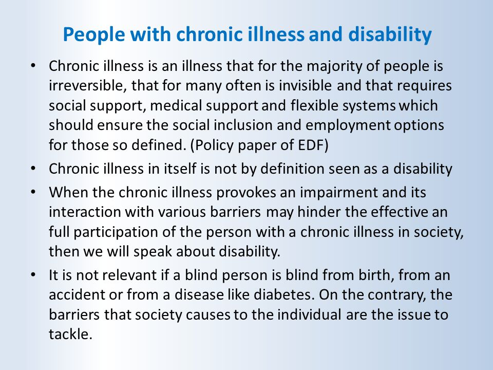 People with chronic illness and disability