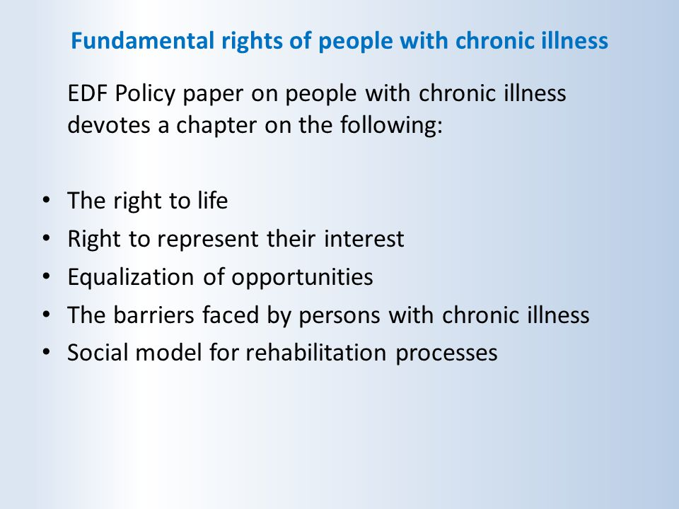 Fundamental rights of people with chronic illness