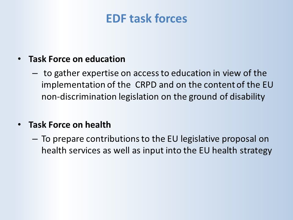 EDF task forces Task Force on education