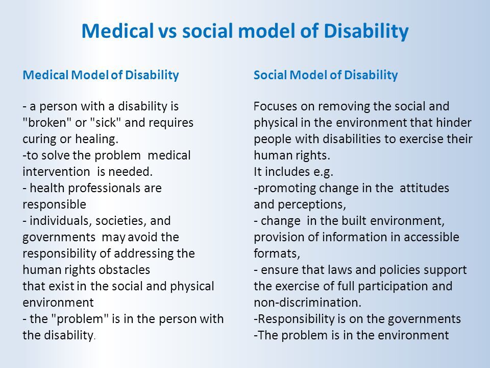 social model of disability The social model was developed by disabled people and it is supported by organisations led by disabled people it says disability is caused by barriers that arise.