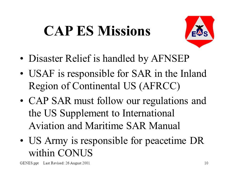 CAP ES Missions Disaster Relief is handled by AFNSEP