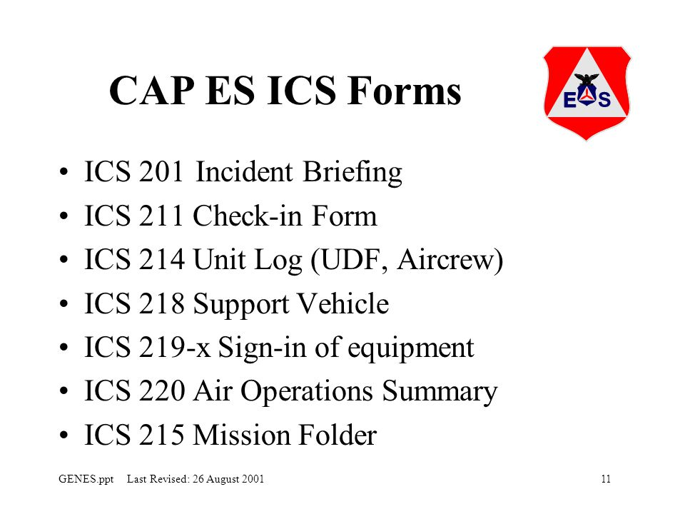 CAP ES ICS Forms ICS 201 Incident Briefing ICS 211 Check-in Form