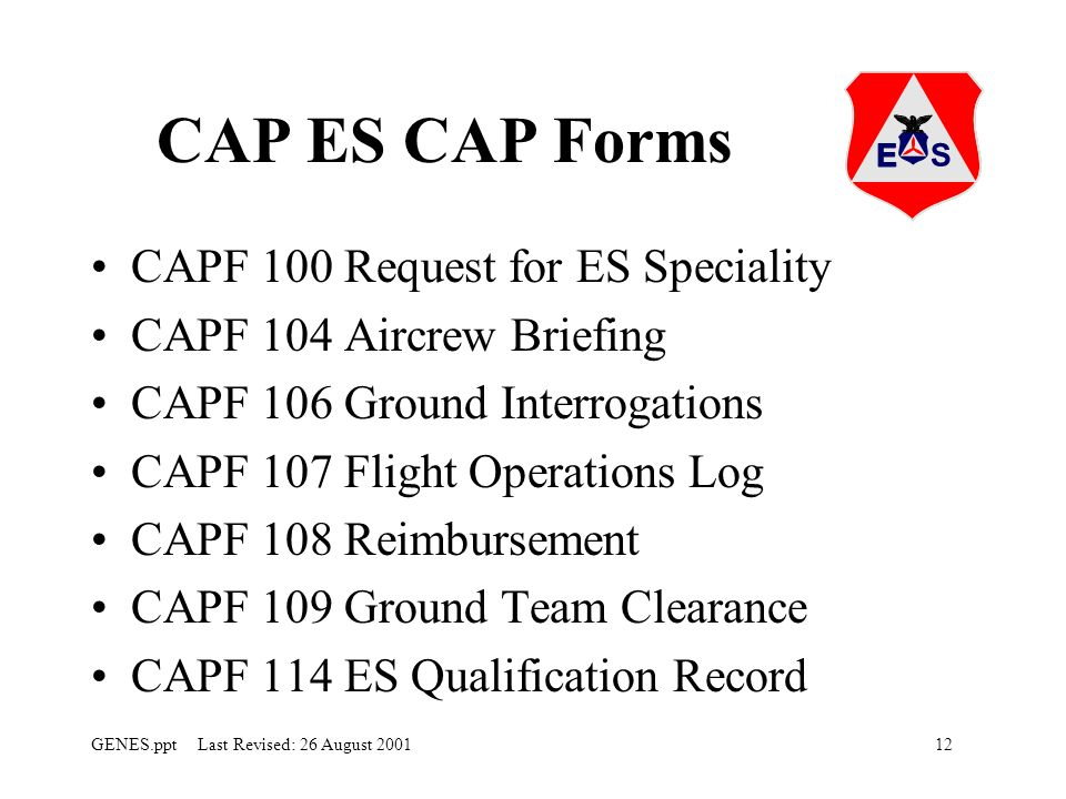 CAP ES CAP Forms CAPF 100 Request for ES Speciality