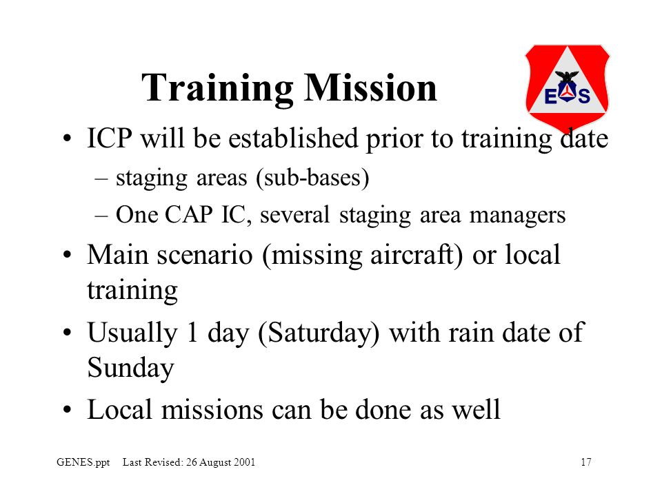 Training Mission ICP will be established prior to training date