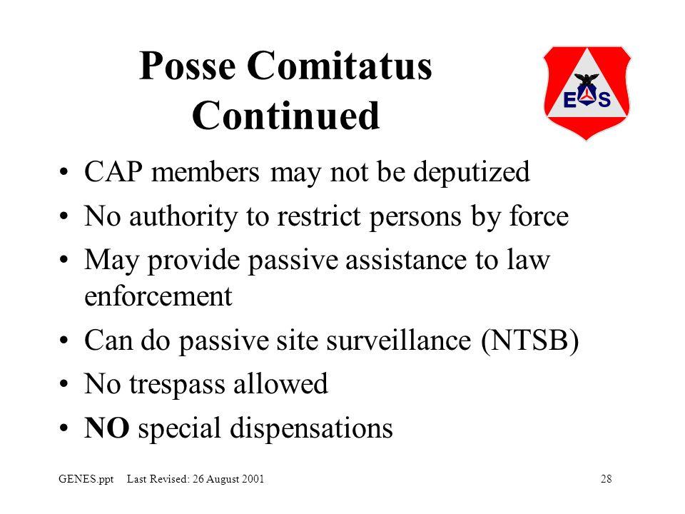 Posse Comitatus Continued