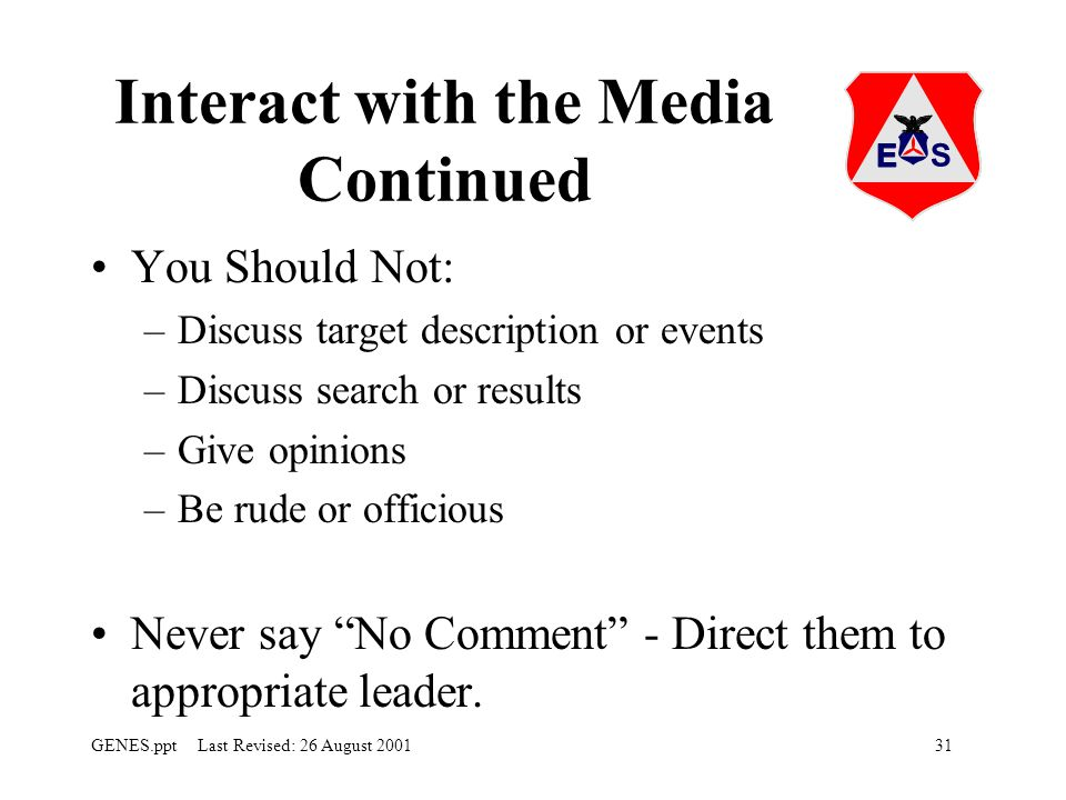 Interact with the Media Continued
