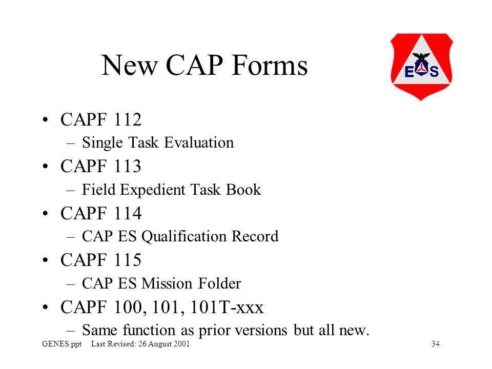 New CAP Forms CAPF 112 CAPF 113 CAPF 114 CAPF 115