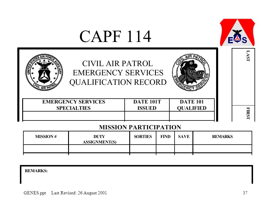 CAPF 114 Each individual should have one of these for their personnel folder and records.