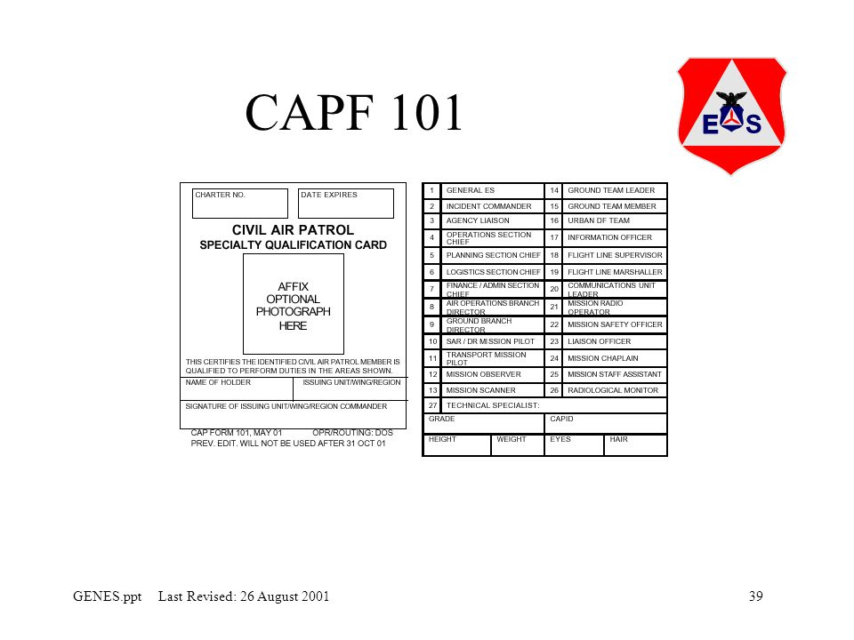 CAPF 101 This the actual 101 card that list the specialities a member is able to perform.