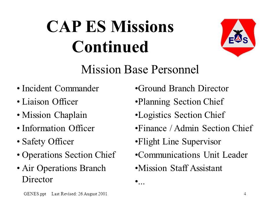 CAP ES Missions Continued