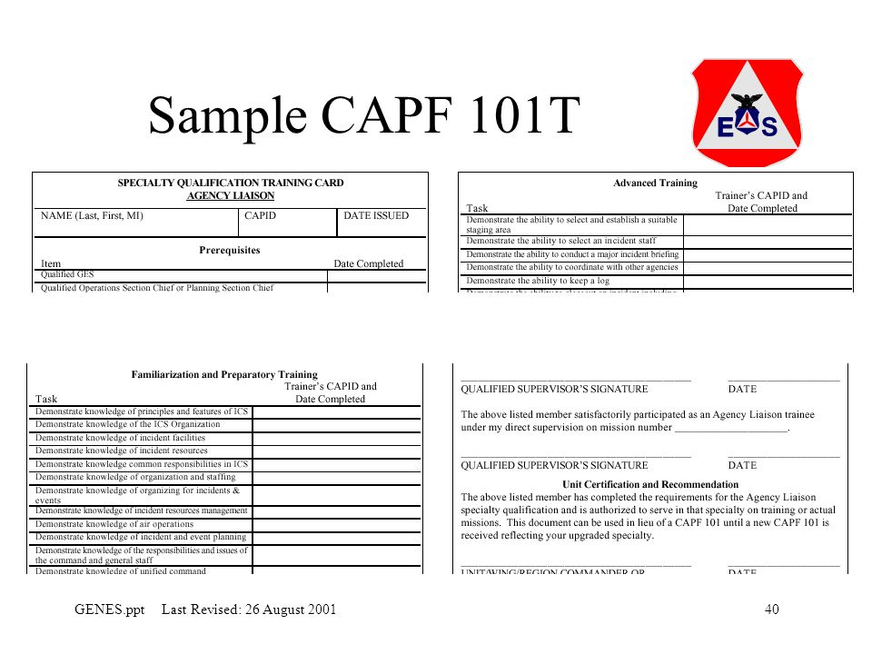 Sample CAPF 101T Each speciality has a CAPF101T. The can be single pages or multiple pages.