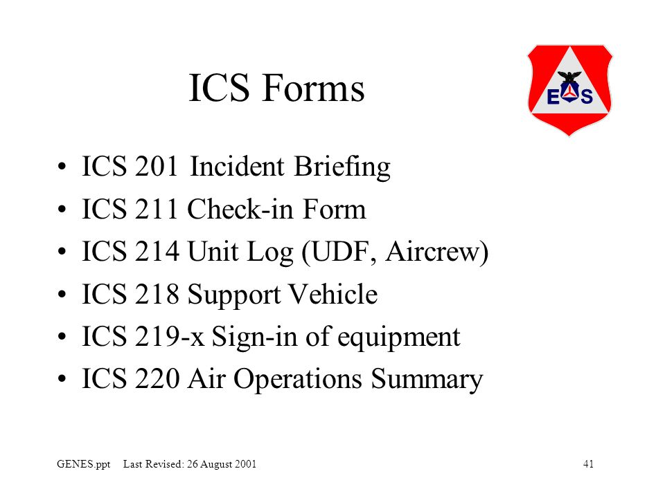 ICS Forms ICS 201 Incident Briefing ICS 211 Check-in Form
