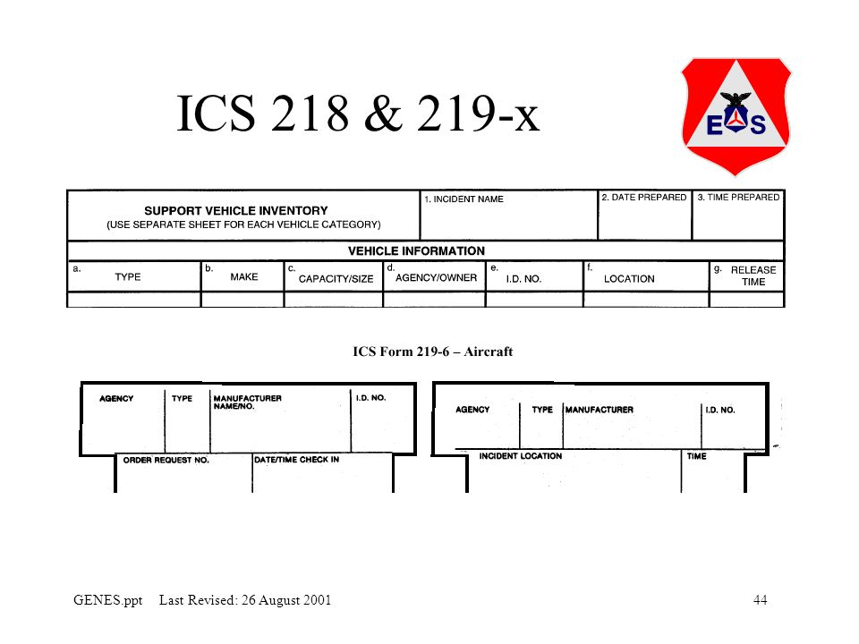 ICS 218 & 219-x ICS 218 is used to sign the vehicles in. Make sure that all vehicles are signed in properly for reimbursement.