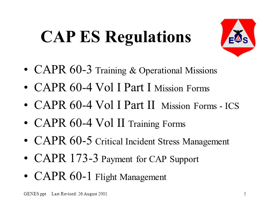 CAP ES Regulations CAPR 60-3 Training & Operational Missions