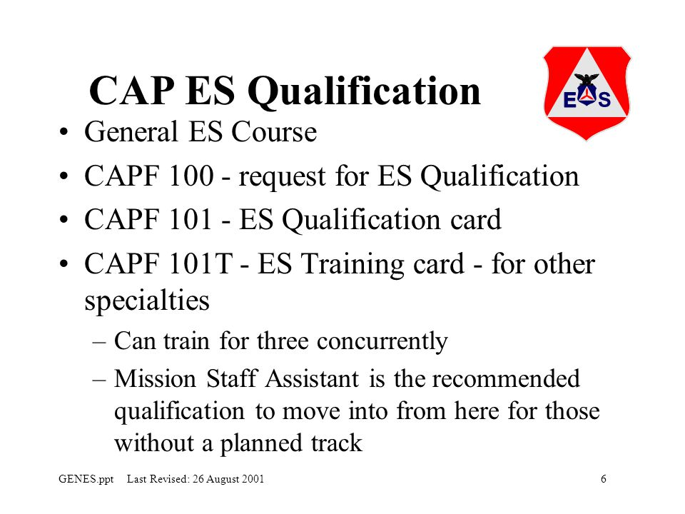 CAP ES Qualification General ES Course