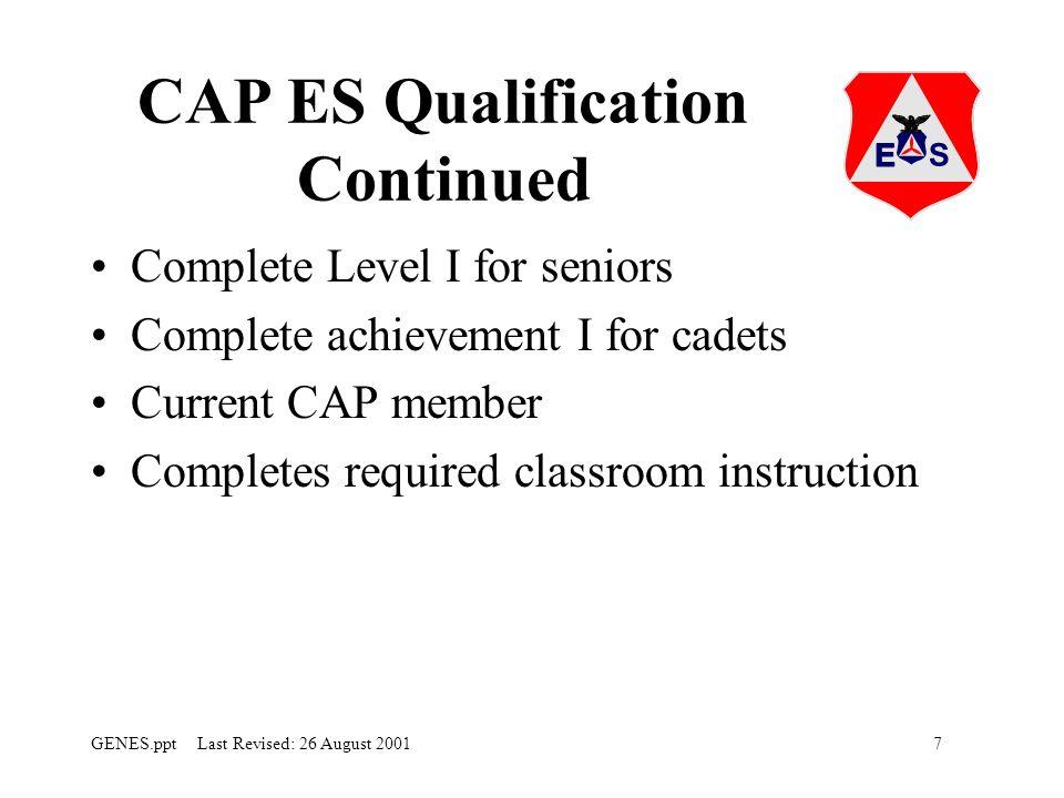 CAP ES Qualification Continued
