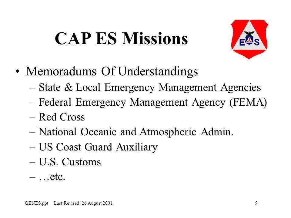 CAP ES Missions Memoradums Of Understandings