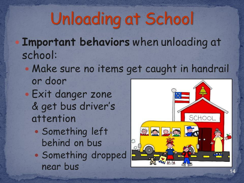 Unloading at School Important behaviors when unloading at school: