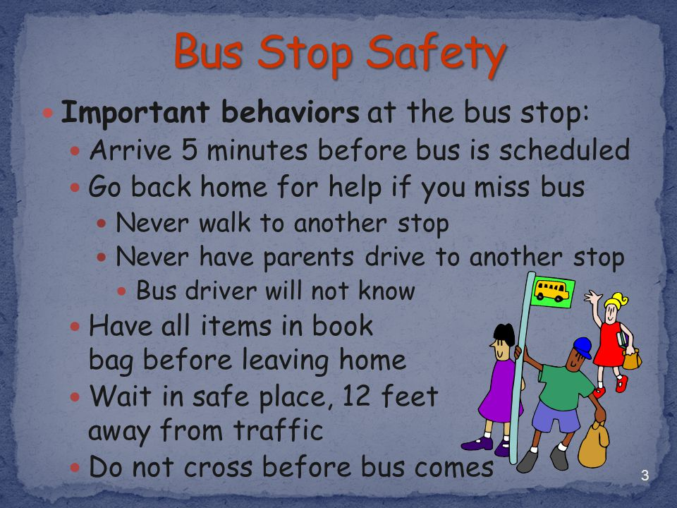 Bus Stop Safety Important behaviors at the bus stop: