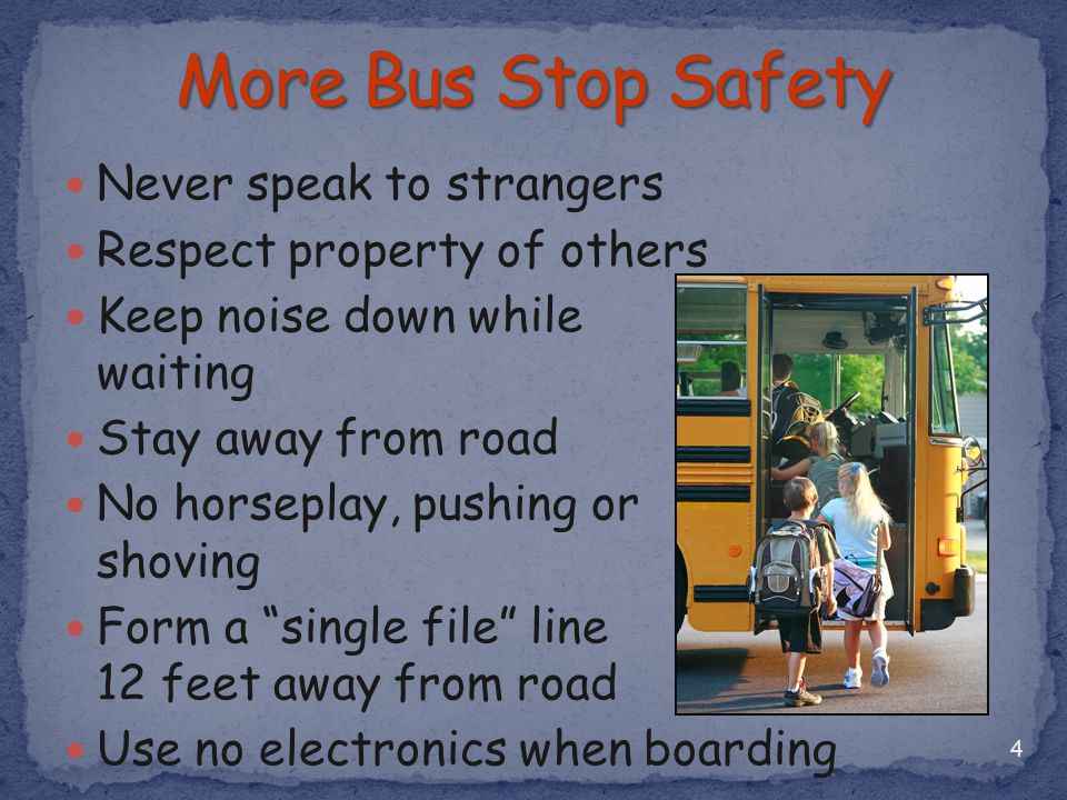 More Bus Stop Safety Never speak to strangers