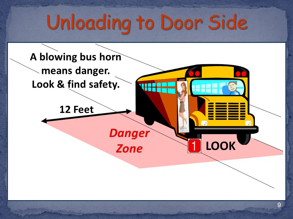 A blowing bus horn means danger.