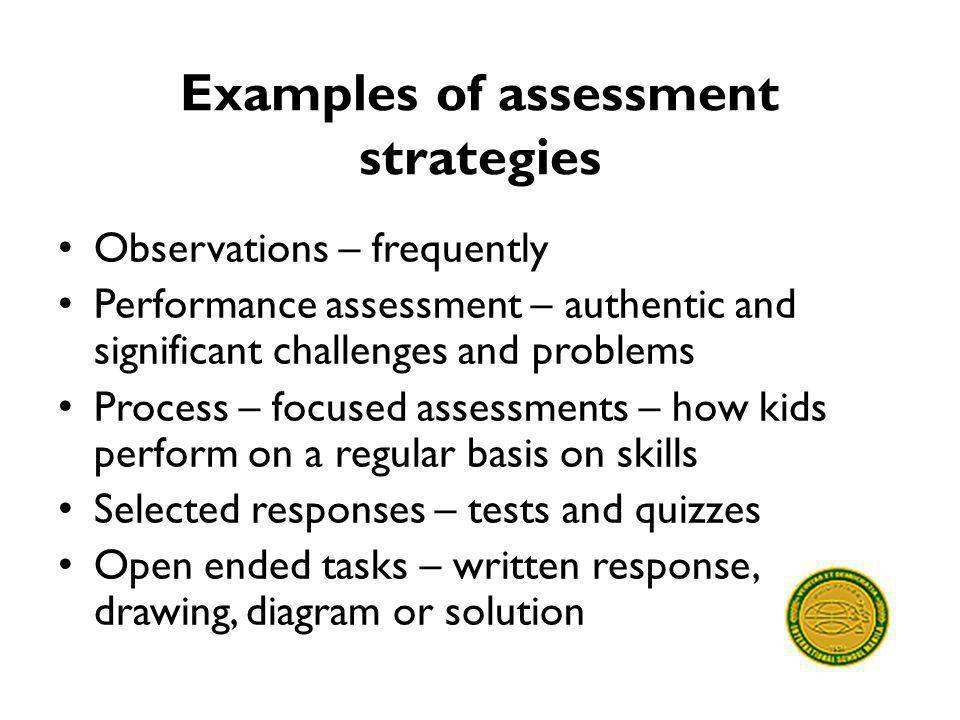 Examples of assessment strategies