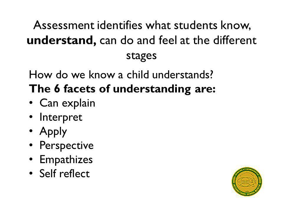 Assessment identifies what students know, understand, can do and feel at the different stages