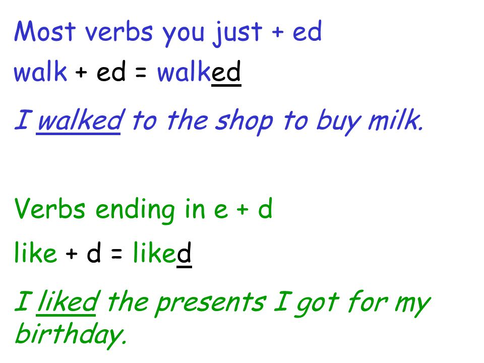Most verbs you just + ed walk + ed = walked. I walked to the shop to buy milk. Verbs ending in e + d.